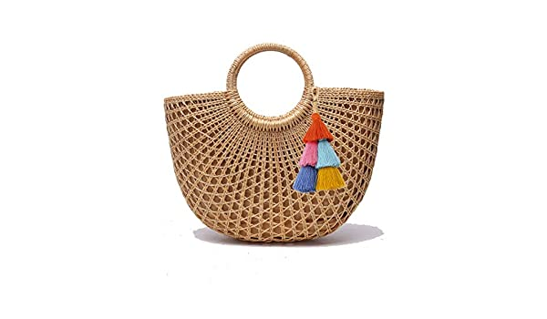 Nodykka Clutch Purses For Women Shoulder Rattan Straw Top Handle Bag Wicker Summer Beach Straw Satchel