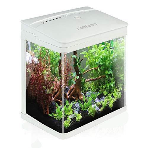 🥇 Nobleza – Acuario de Cristal con Cubierta y Luces LED. Sistema de Filtro de 14 litros. Color Blanco