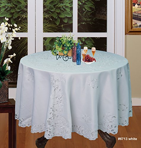 Creative Linens Embroidered Floral Tablecloth 88