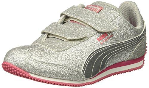 PUMA Girls' Whirlwind Glitz V Kids Sneaker, Puma Silver-Puma Silver, 7 M US Toddler