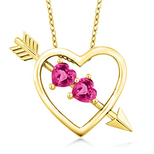 1.20 Ct Heart Shape Pink Created Sapphire 18K Yellow Gold Plated Silver Pendant