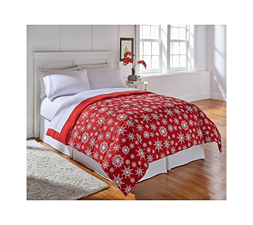 Living Quarters Red Snowflake Reversible Microfiber Down-Alternative Comforter ()