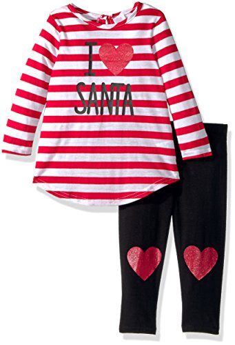 Heart Red Polyester Appliques (Youngland Baby Girls Santa Applique Dress and Solid Legging Set, Red/White, 12M)