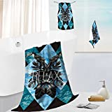 SOCOMIMI 3 Bath Towels New Style Cotton Printing relax slogan summer illustrator art vector watercolor toucan graphic leaves and blue sea mirror Soft Cotton Like Bath Towel Sets