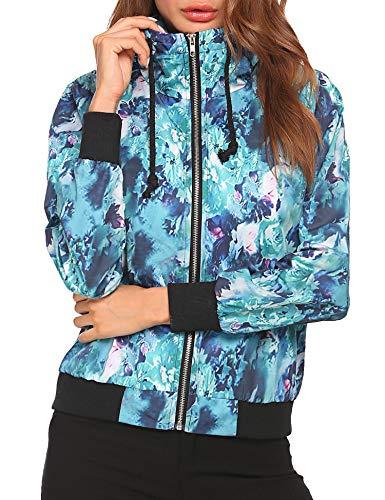 BEAUTEINE Lightweight Jackets Coat Womens Short Bomber Jacket Quilted Baseball Zip Jacket Coat