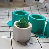 Qjoy Silicone Cactus Flower Pot Mold Ceramic Clay Craft Casting Concrete Cup Mould Supplies