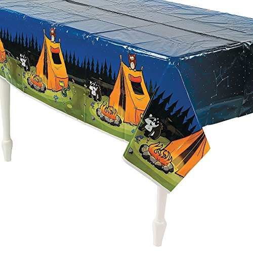 Fun Express - Camp Adventure Tablecover for Birthday - Party Supplies - Table Covers - Print Table Covers - Birthday - 1 Piece (Adventure Table)