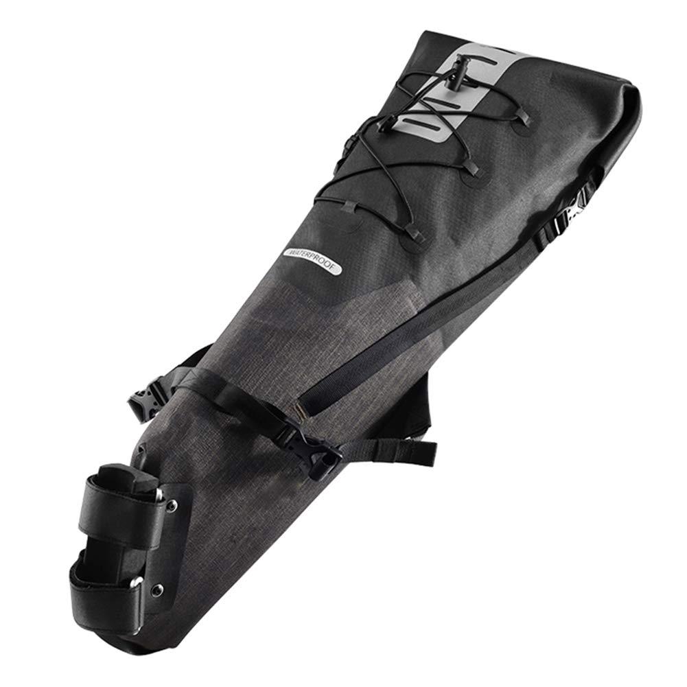 ストライプの反射装置に乗って自転車サドル バッグ、防水バイク パック大容量リアエアー シート バッグ B07Q9899SC  2