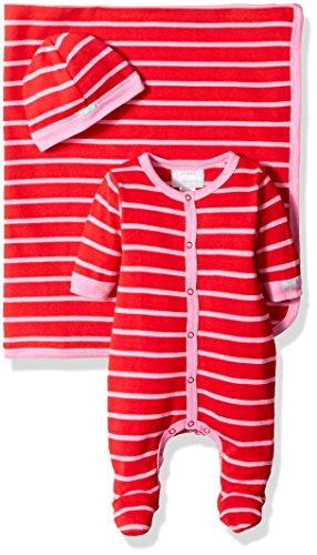 Blanket Cranberry - Coccoli Baby Girls' Pink Red Stripe Jersey Knit Cotton Footie Cap Blanket Set, Cranberry/Begonia, Newborn