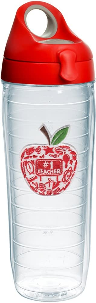 Tervis #1 Teacher - Modern Apple Tumbler with Emblem and Red with Gray Lid 24oz Water Bottle, Clear