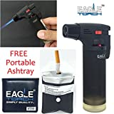 Eagle Jet Torch Gun Lighter Adjustable Flame Windproof Butane Refillable Handy (Black)