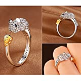 A.Yupha Fashion Cute Animal CZ Crystal Silver Lovely Jewelry Women Party Openings Ring (Mouse)