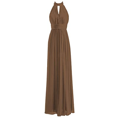 Bridesmaid Dresses Long Prom Dress Chiffon Halter Evening Gowns Pleat Wedding Party Dress at Women's Clothing store