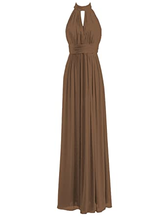 JAEDEN Bridesmaid Dress Halter Long Wedding Party Dress Chiffon Prom Dress Pleat Evening Gowns #105