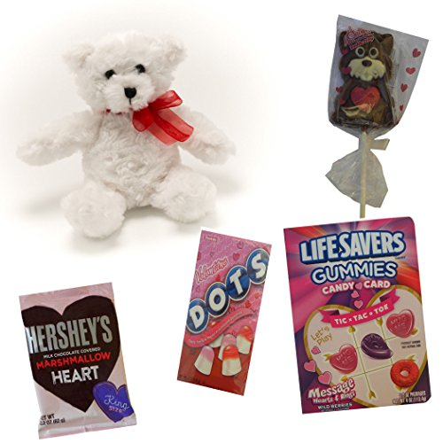 Valentine 5-Piece Kids Candy Bundle - Gummies with Tic Tac Toe Game, Chocolate Covered Marshmallow Heart, Crispy Chocolate Puppy on Stick, Flavored Gumdrops -plus- Plush 7-inch Bear, Age 3+