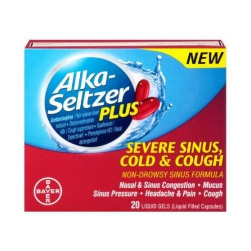Alka Seltzer Plus Severe Sinus Cold and Cough Liquid Gels - 20 per pack - 24 packs per case. (And Alka Seltzer Sinus Cold)