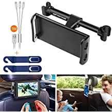 Smartphone iPhone iPad Tablet Car Headrest Mount Holder Cradle Rear Back Seat Mount w/ 3in1 Charging Cable + Headrest Hanger for iPad Samsung Galaxy Tabs Nintendo Switch Cell phone Car Mount