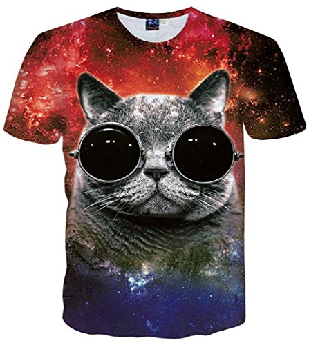 Chiclook Cool T-shirt Men Women Galaxy Fat Cat Wearing Glasses 3D Clothing T Shirt - Glasses Glasses 3d Wearing With