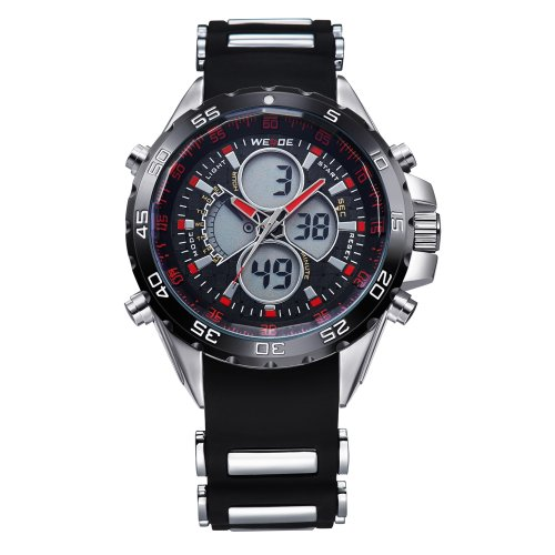 Mens Sport Watch LCD Dual Display Analog Digital Day Date Rubber Strap Quartz Reloj - Display Rubber Strap