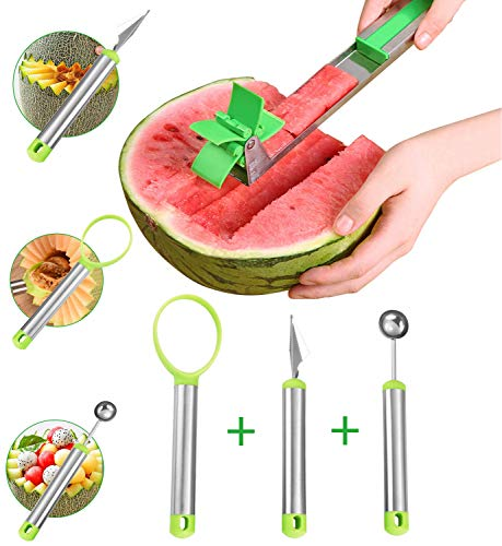 4Pack Watermelon Windmill Cutter Slicer Kit[Original], PEMOTech Stainless Steel Watermelon Windmill Cutter, Melon Baller, Carving Knife and Peeler, Windmill Watermelon Slicer Tools for Home