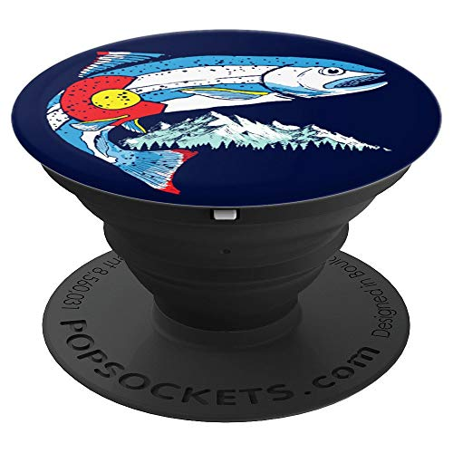 Retro Colorado Flag Trout Vintage Fly Fishing Graphic Design PopSockets Grip and Stand for Phones and Tablets