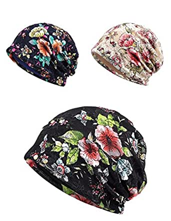 Chemo Cap, Turban Headwear, Womens Soft Beanie Sleep Turban Hat Headwear for Cancer Patients, Lace Headwrap and Chemo Hats for Hairloss (Vintage Flower Series, 1324)