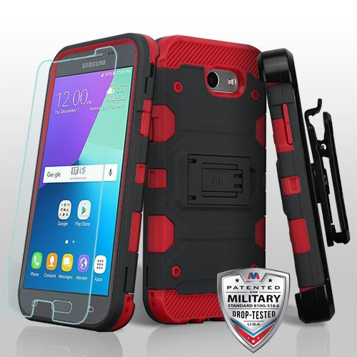 - ShopAegis - [COMBO PACKAGE] 3 in 1 [Black/Red] Storm Defender Shockproof Holster Temp Glass Cover Case for Samsung Galaxy [J3 2017,Luna Pro, Prime,Emerge][Sol 2][Amp Prime 2][Express Prime 2]