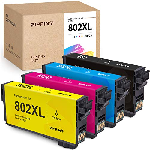 ZIPRINT Remanufactured Ink Cartridge Replacement for Epson 802 802XL T802 XL for Epson Workforce Pro WF-4730 WF-4734 WF-4740 WF-4720 EC-4020 EC-4030 EC-4040 Printer (Black,Cyan,Magenta,Yellow 4-Pack) -  SUPERPAGE INC (NOT EPSON OEM), EPSON 802 XL T802XL 802XL