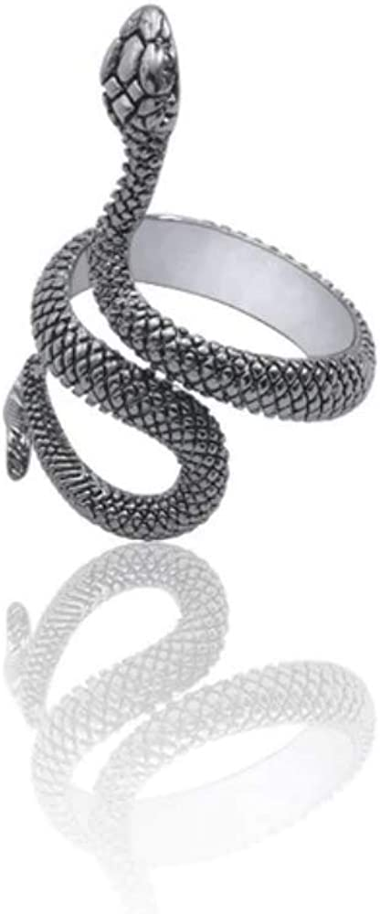 Dan's Collectibles and More Snake Serpent Ring Black Ouroboros Cobra Stainless Steel Diamond Leviathan Poseidon Coiled Jungle Sea Beach Pirate HP Lovecraft Cobra Resize-able (BLsnake)