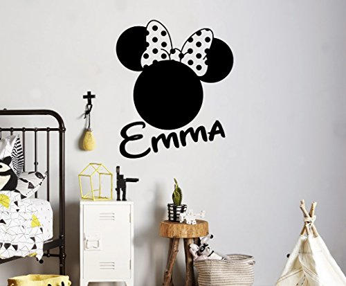 Custom Name Wall Decal Minnie Mouse Head Vinyl Sticker Personalized Name Home Decor Bedroom Nursery Baby Room Wall Art 2(mkm)