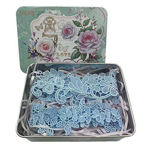 BravoPm Women Gift Floral Lace Wedding Garters for Bride Elastic Band Embroidered Leg Ring Light Blue