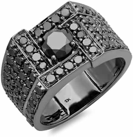 4.50 Carat (ctw) 10K White Gold Round Cut Black Diamond Mens Ring