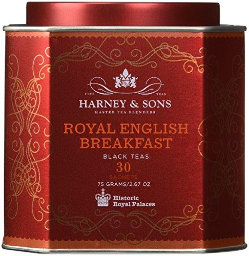 Harney & Sons Royal English Breakfast Tea Tin - High Quality Blend of Black Teas, Great Present Idea - 30 Sachets, 2.67 Ounces