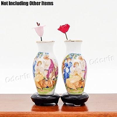 Odoria 1:12 Miniature 2PCS Antique Porcelain Vase Dollhouse Decoration Accessories: Toys & Games