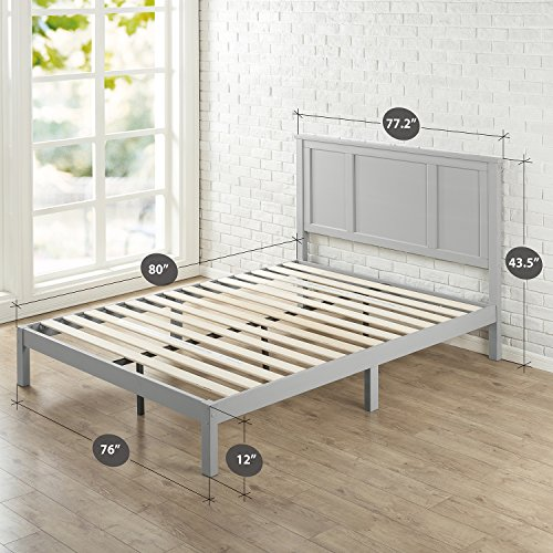 Zinus Wood Country Style Platform Bed with Headboard / No Box Spring Needed / Wood Slat Support, King