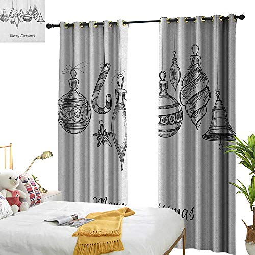 WinfreyDecor Sliding Curtains Christmas Sketchy Hand Drawn Classical Ornaments Hanging from Strings Celebration Text Darkening and Thermal Insulating W108 x L96 Black -