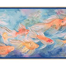 Orange Red Fish Swimming in Blue Waters Vintage Wallpaper Border Paint by Design, Roll 15' x 9''