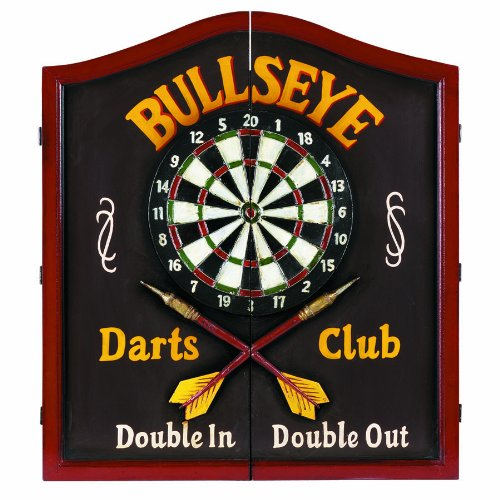 RAM Gameroom Products Wooden Dartboard Cabinet, ''Bullseye Darts Club - Double In, Double Out''