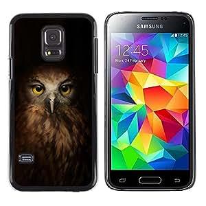 Be Good Phone Accessory // Dura Cáscara cubierta Protectora Caso Carcasa Funda de Protección para Samsung Galaxy S5 Mini, SM-G800, NOT S5 REGULAR! // Brown Bird Eyes Peak Feathers