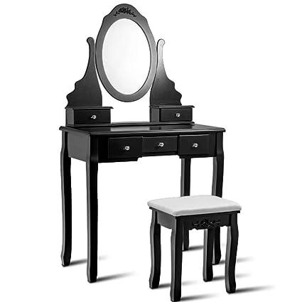 Amazon Com Gw Black Dressing Table Vanity Makeup Desk W 5 Drawers