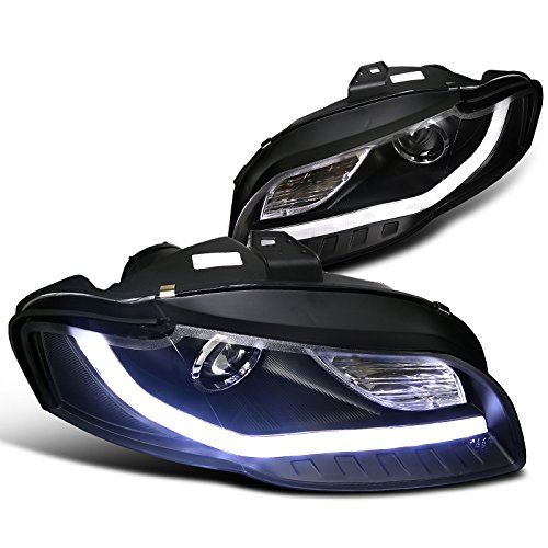 Spec-D Tuning 2LHP-A406JM-8V2-TM Audi A4 Crystal Black Projector Headlights With New BMW Style LED DRL Strip (Crystal Hyper White Bulbs)