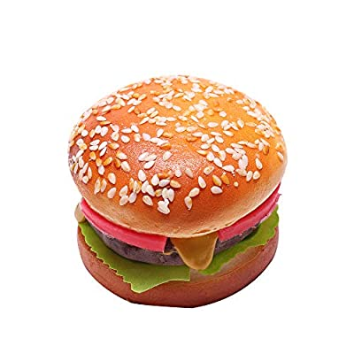 6 Pieces Fake Hamburger for Display with a Magnet, Artificial Beef Bread Play Food, Perfect for Kids Pretend Bakery Party, Birthday Realistic Foods Decorations (Big Sesame Beef Burger): Toys & Games