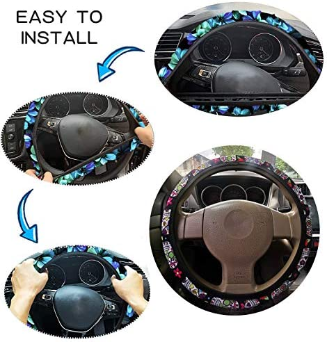 LedBack Colorful Candy Skull Pattern Universal Steering Wheel Covers Cars Soft Plush Car Steering Wheel Covers Universal No Fixed Inner Steering Wheel Cover Fit for Truck SUV