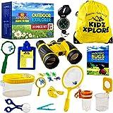 Kidz Xplore Outdoor Explorer Set 20 pc | Nature Exploration Kit Children Outdoor Games Mini Binoculars Kids, Compass, Whistle, Magnifying Glass, Bug Catcher, Adventure, Hiking, Hunting Educational Toy