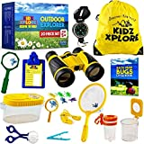 Kidz Xplore Outdoor Explorer Set 20 pc | Nature Exploration Kit Children Outdoor Games Mini Binoculars Kids, Compass, Whistle, Magnifying Glass, Bug Catcher, Adventure, Hiking, Hunting Educational Toy