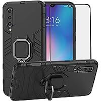 BestMX Funda para Xiaomi Mi 9 Case Protector de Pantalla de Cristal Templado, Híbrida Rugged Armor Choque Absorción Protección Dual Layer Bumper Carcasa con Pie De Apoyo, Negro