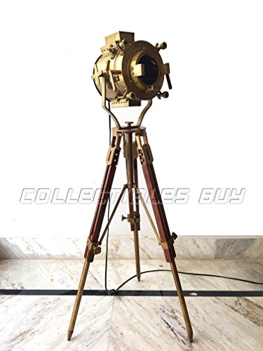 Vintage Antique Hollywood Theater Marine Searchlight Nautical Wooden Brown Tripod Handmade Brass Floor Lamp Retro Spotlight - Home Decoration LED (Brass Tripod)