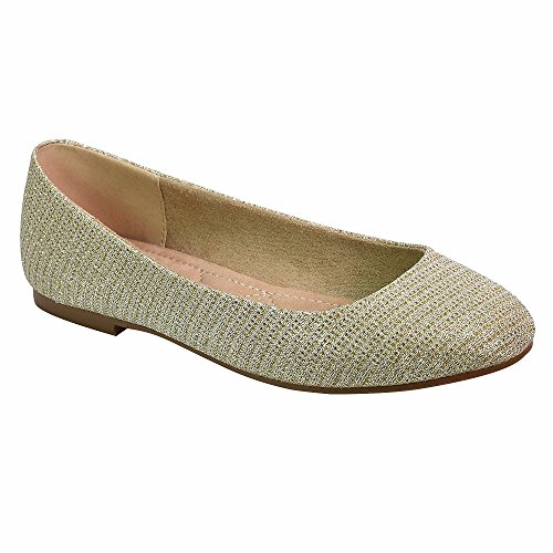 Angelina Mujeres Woven Shimmer Material Ballet Comfort Flat Nude