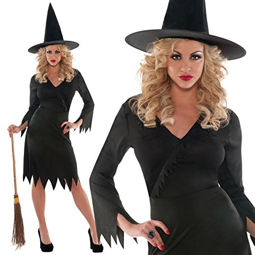 Adults Womens Classic Traditional Wicked Witch Halloween Oz Fancy Dress Costume (Plus Size) (Sexy Witch Dress)