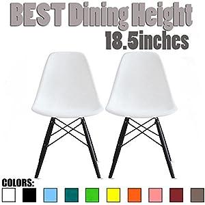 2xhome Set of Two (2) White - Eames Side Chair Black Dark Wood Leg Dining Room Chair No Arm Armless Chairs Wood Leg Wire Leg Dowel Leg Eiffel Molded Plastic